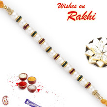 Red & Green Crystals & White Pearl Rakhi - PRL17506
