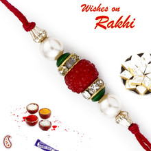 Red & Green Beads & White Pearl Rakhi - PRL17507