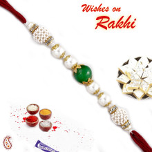 Green Onyx American Diamonds and White Pearl Rakhi - PRL17508
