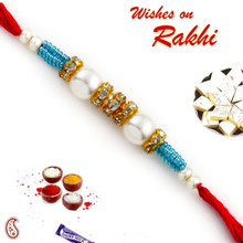 Pearl Rakhi with American diamonds and Turquoise Beads - PRL17510