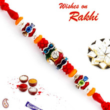 Multicolor Beads & AD Studded Stunning Rakhi - PRL17512