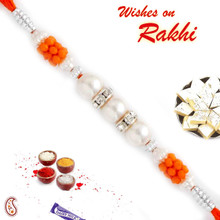 Orange Beads & AD Studded Pearl Rakhi - PRL17513