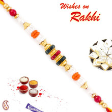 Multicolor Beads & White Pearl Studded Thread Rakhi - PRL17515