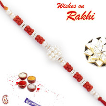 Red Beads & White Pearl Rakhi - PRL17517
