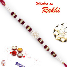 Transparent Crystal Beads & White Pearl Rakhi - PRL17518