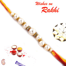 Pure Pearl and White Stone Hoops Rakhi  - PRL17519