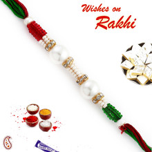 Round Pearl Rakhi with coloured Beads - PRL17520