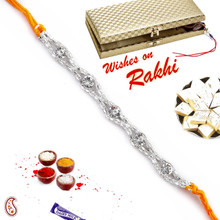 White stones and Silver Chain Rakhi - SRL17557