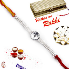 Beautiful White crystal Silver chain Rakhi - SRL17560