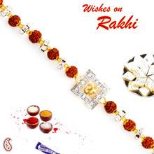 Rudraksh & Ad Studded OM Motif Bracelet Rakhi - BR17571