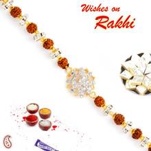 AD & Rudraksh Studded OM Bracelet Rakhi - BR17572