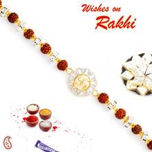 Rudraksh & AD Studded Swastik Motif Bracelet Rakhi - BR17573