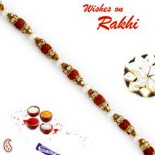 Charming Beads & Rudraksh Studded Bracelet Rakhi - BR17574