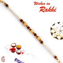 Rudraksh & Tiny Pearl Studded Bracelet Rakhi - BR17575
