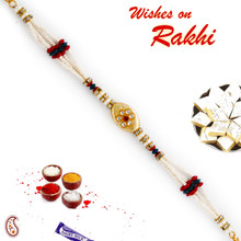 Multicolor Beads & AD Studded Floral Style Bracelet Rakhi - BR17576