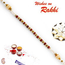 AD, Rudraksh & Pearl Studded Bracelet Rakhi - BR17577