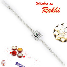 Swastik Bracelet Rakhi with Silver Finish - BR17578