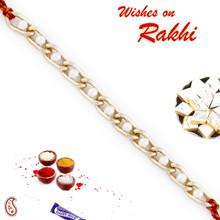 Pearl Studded Gold Chain Style Bracelet Rakhi - BR17581