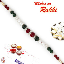 Fabulous Green & Maroon Beads Bracelet Style Rakhi with Pearl & AD - BR17583
