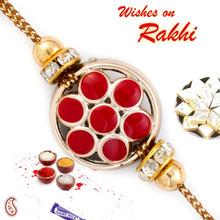 Red & Gold Floral Motif Fancy Rakhi - RB17601
