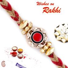 Red & Gold Round Motif Fancy Rakhi - RB17605