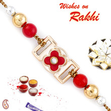 Beautiful Red Floral Motif with Golden Base Rakhi - RB17606