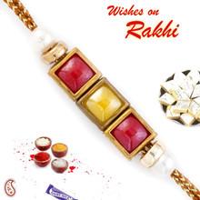 Red & Yellow Tri Square Motif Fancy Rakhi - RB17607