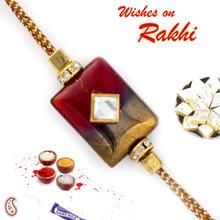 Red & Gold Rectangular Motif Rakhi - RB17608
