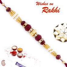 Golden & Magenta Beads Studded Beautiful Rakhi - RB17609