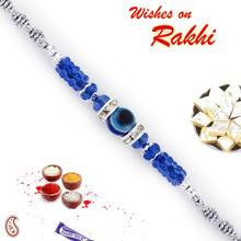 Blue & Silver Beads Rakhi with Evil Eye - RB17610