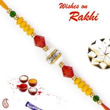 Red & Green Crystal Stone & Yellow Beads Rakhi - RB17612