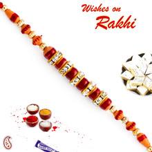 Brown & Red Beads Studded Designer Rakhi - RB17613