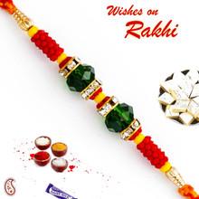 Green Crystal Beads Studded Designer Rakhi - RB17614