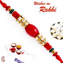 Red Beads & AD Studded Designer Rakhi - RB17615