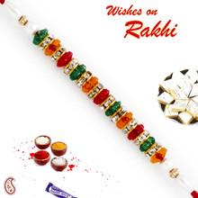 Multicolor Beads & AD Studded Designer Rakhi - RB17616
