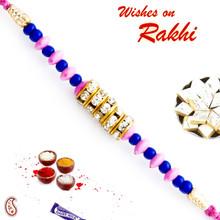 Pink & Blue Beads & AD Studded Stylish Rakhi - RB17617