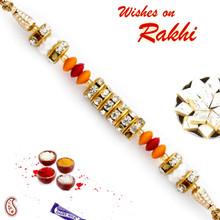 Tri Color Beads & AD Studded Stylish Rakhi - RB17618
