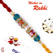 Blue & Pink Crystal Stone Studded Beautiful Rakhi - RB17619