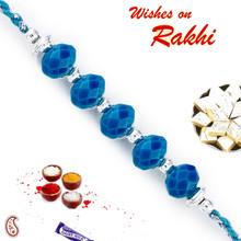 Silver & Blue Crystal Beads Rakhi - RB17620