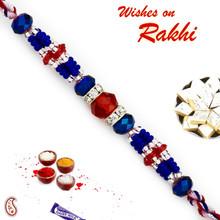 Red & Blue Crystal Stone & AD studded Beautiful Rakhi - RB17621