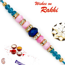 Pink & Blue Crystal Beads Studded Beautiful Rakhi - RB17635