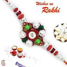 Multicolor Crsytal Stone Studded Stylish Rakhi - RB17637