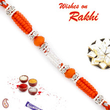 Orange Solid Beads & AD Studded Rakhi - RB17639