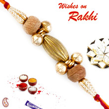 Gold & Beige Sandalwood Beads Rakhi - SW17651