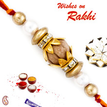 Pearl & Gold Beads Sandalwood Rakhi - SW17653