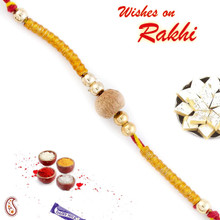 Beige Sandalwood & Golden String Rakhi - SW17654