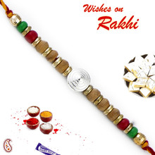 Sandalwood Rakhi with Magenta & Green Beads - SW17656