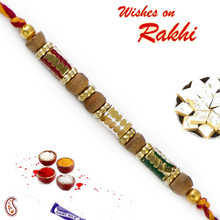 Sandalwood Rakhi with Colorful Thread - SW17657