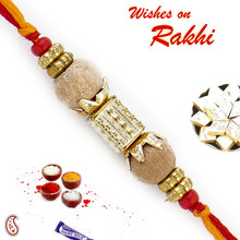 Dual Sandalwood Rakhi Yellow & Red Thread - SW17658