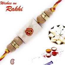 OM Studded Sandalwood Rakhi - SW17659
